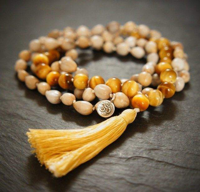 108 Manipura Solar Plexus Mala,Yoga Necklace,Golden Tigers Eye and Bijanti £59.00