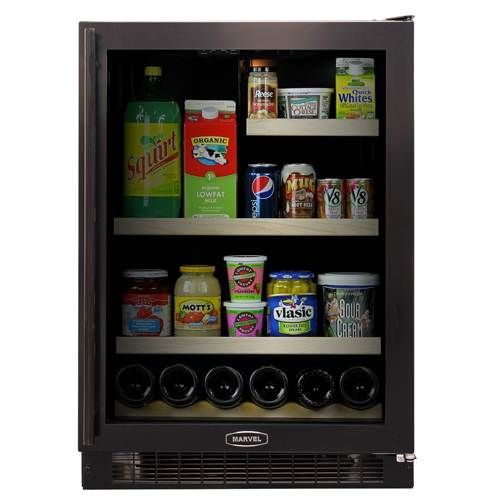 Keep food and drinks cold and wherever you want them with the Marvel 24-Inch Refrigerator with Black Cabinet and Black Trim Glass Door (6GARM-BB-G-R, 6GARM-BB-G-L). This versatile refrigerator is capable of being installed as a built-in unit or can simply stand on its own. Regardless of the installation method that you choose, know that it will look great with a sleek black cabinet and door frame, and tinted, dual-pane UV resistant glass door.