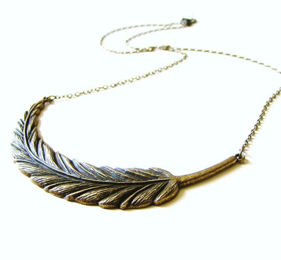 Antique bronze tribal feather necklace
