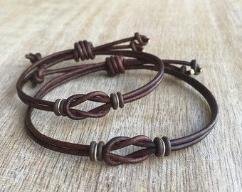 Antiguo marrón parejas pulseras pulseras de cuero su por Fanfarria