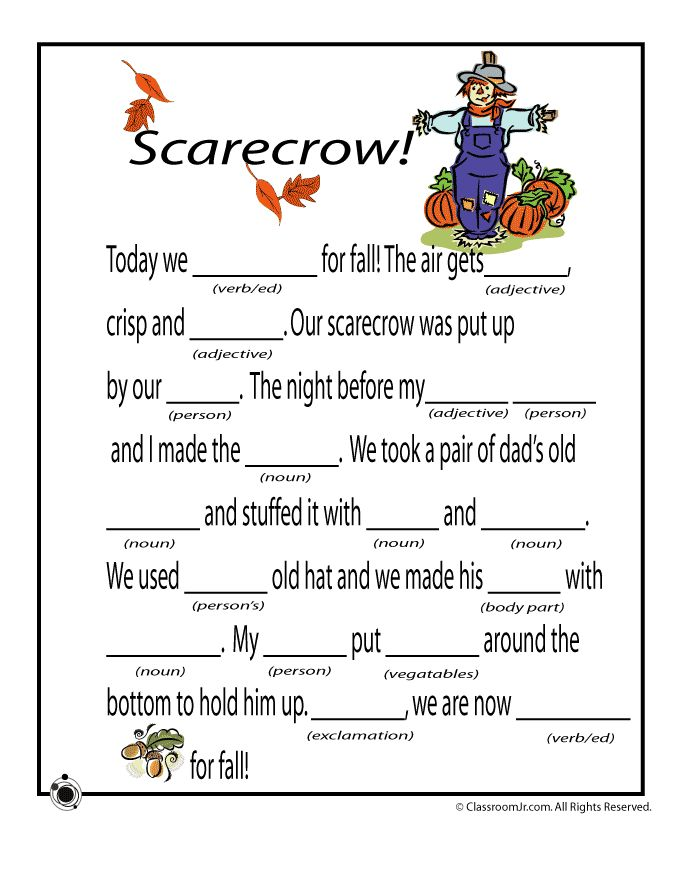 Worksheets Mad Lib Worksheets 1000 images about mad lib ing it through grammar on pinterest fall libs for kids scarecrow classroom jr also