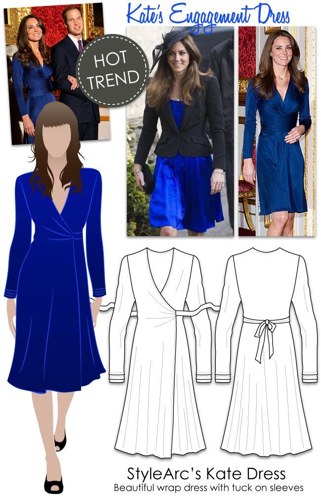 HOT TREND - Kate's Royal Dress, versatile wrap dress, fine knit jersey, medium