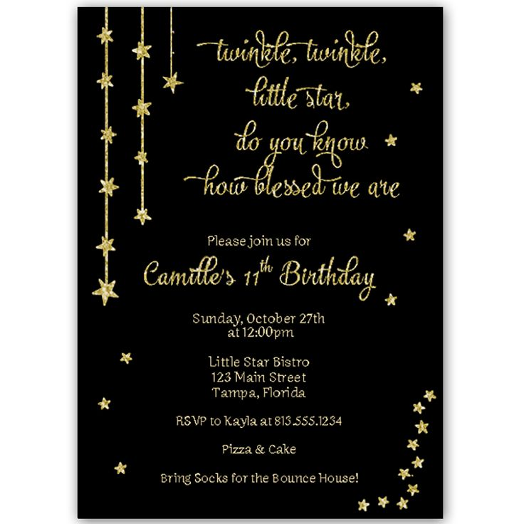 Love this glamorous Glitter Invitation to use to invite guests to your girls birthday party with this fun and classic invitation featuring gold stars and a twinkle twinkle little star theme.  PLEASE NOTE:  This design has a printed effect to look like glitter, but no actual glitter is used in creating this product.  White envelope included.