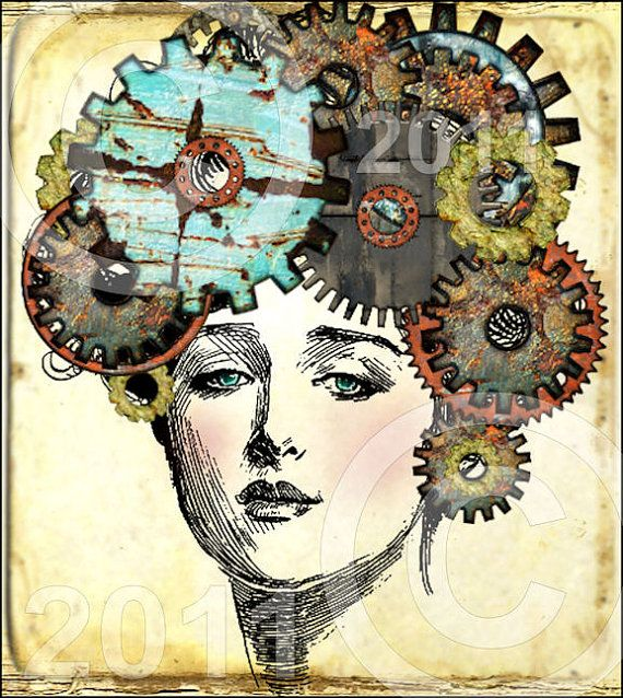 GeaR HeaD STeaMPuNK oRiGiNaL ViNTaGe watch parts gears You Print Digital Collage Sheet download altered art home decor supplies