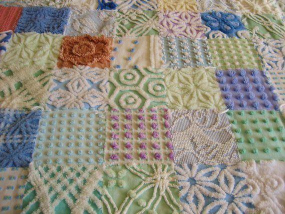 chenille quilts | Vintage Chenille Baby Girl Quilt with NO PINK