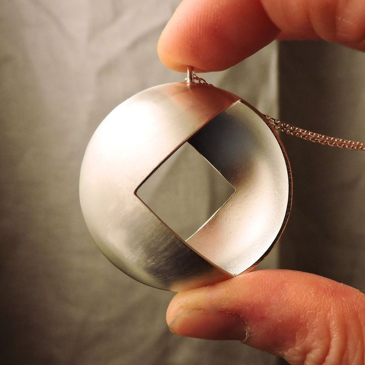 Round Silver Pendant | Geometric Necklace | Square Silver Pendant | Silver Chain…