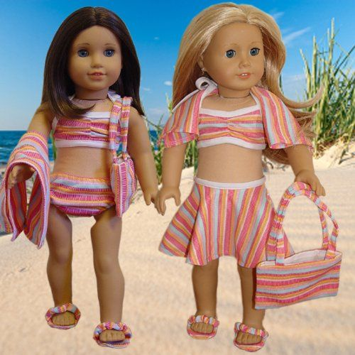 """6 piece Swimsuit Set Fits 18"""" American Girl Doll Clothes"""