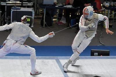 Radoslaw Cheremisinov (left) against Richard Kruse, during the 2012 European Fencing Championships