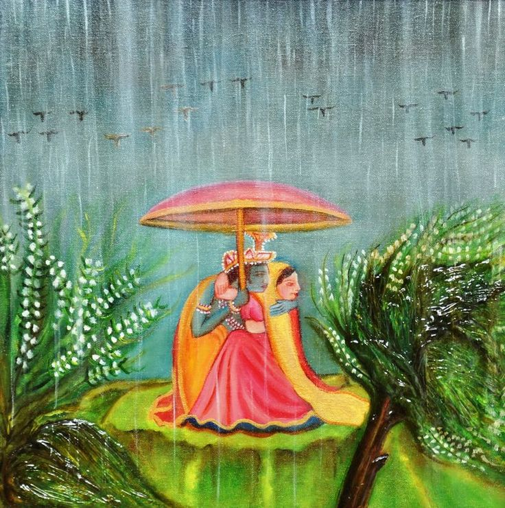 "Free Shipping-- Romancing in Rain, Mixed Media On Canvas Painting, Size is 18"" X 18"""