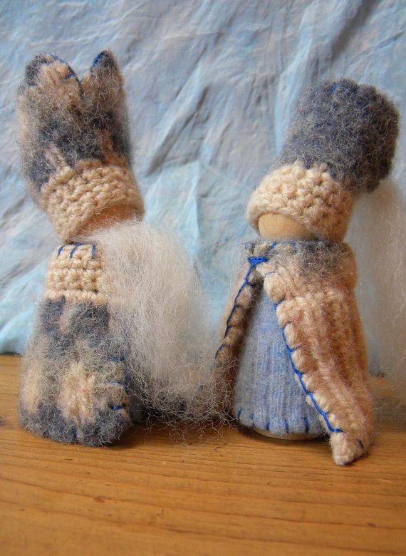 Waldorf Winter Gnomes, King Winter, Queen Winter, Winter Peg Dolls, Waldorf Dolls, Waldorf Decor. $50.00, via Etsy.