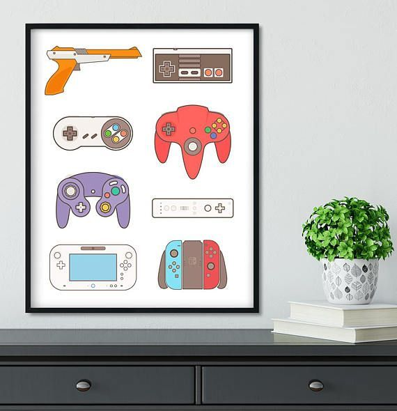 Video Game Art gift , Switch, Retro Controllers Poster, Gamer Birthday gift, Nintendo 64, Game Room Decor, Super NES Wii Controller History – – #Gamer…