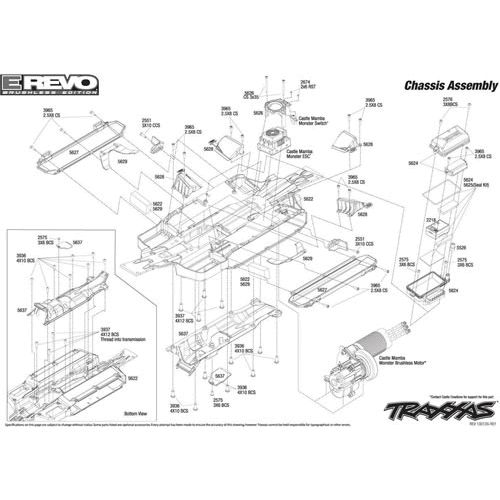 e revo brushless parts diagram car horn wiring traxxas emaxx brushless\ | 1:10 scale e-revo (#5608) chassis ...