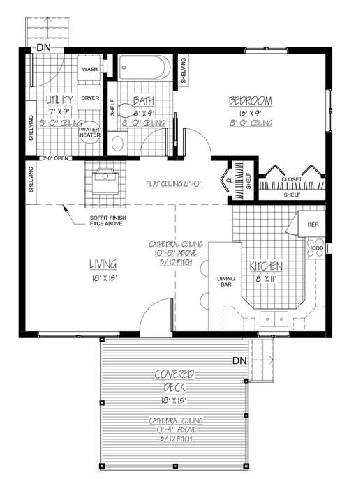 House Plan 9939-00001 - Cabin Plan: 728 Square Feet, 1