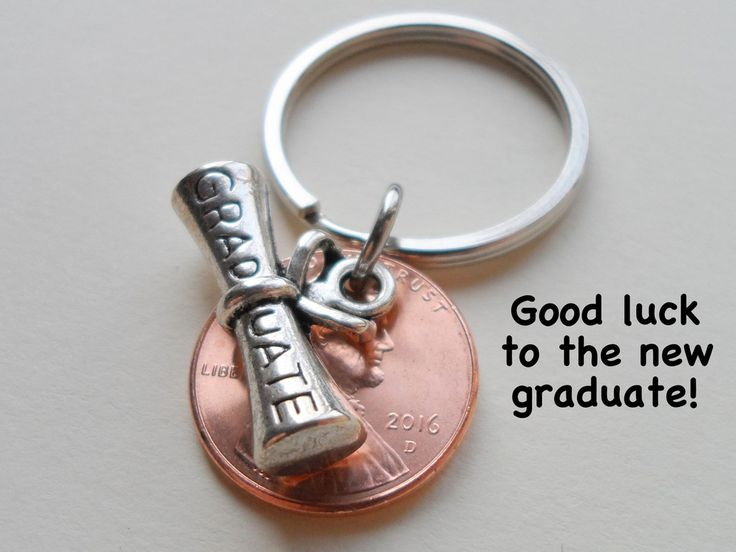 Cap And Diploma Charm Layered Over 2015 Penny Keychain - Good Luck To The New Graduate; Hand Made; Graduation Gift Модель - фото 3