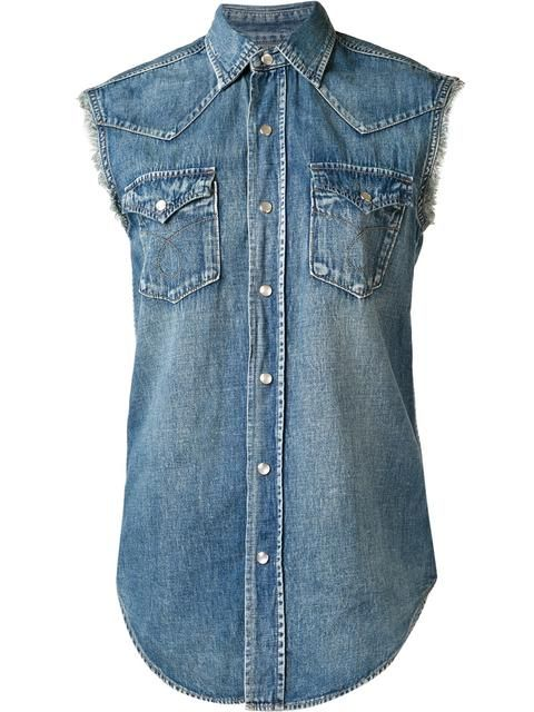 SAINT LAURENT Sleeveless Denim Shirt. #saintlaurent #cloth #shirt