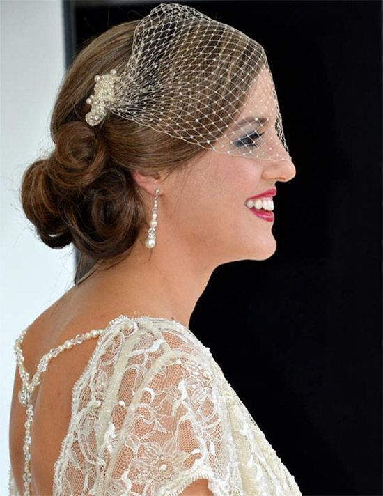 champagne bandeau veil with scattered crystals on french netting. www.margotarderndesigns.com