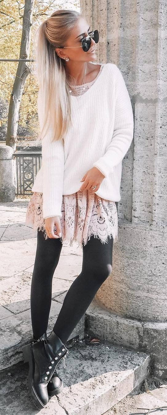 ootd | white sweater + lace tunic + black leggings + boots