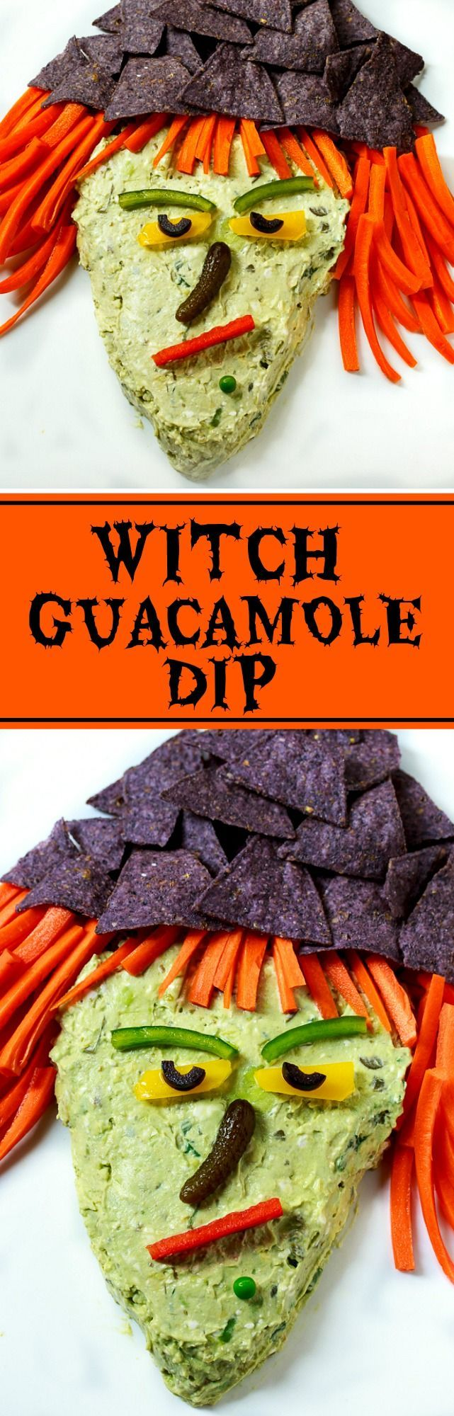 Witch Guacamole Dip for your next Halloween party. Tastes great and easy to make!