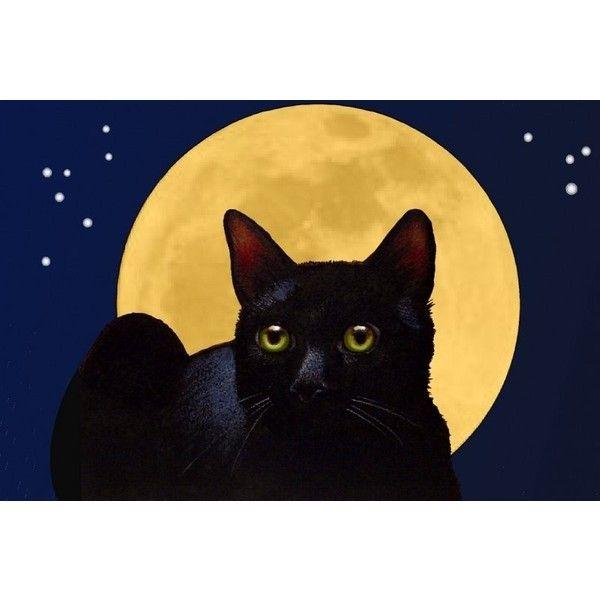 Black Cat and Full Moon Art Print Melody Lea Lamb ❤ liked on Polyvore