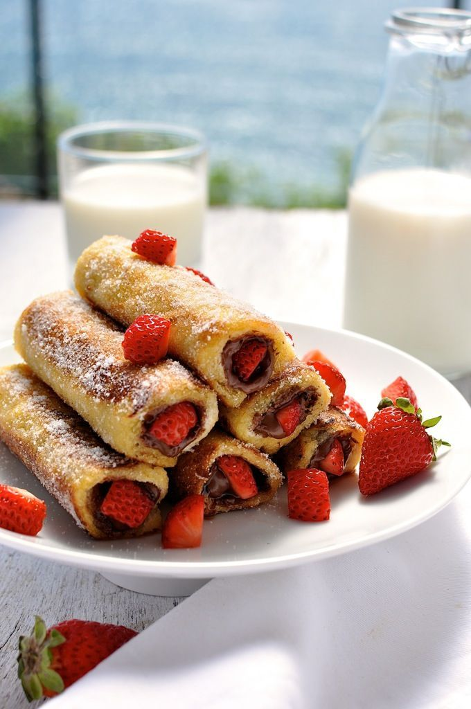 Strawberry Nutella French Toast Roll Ups. Wow. Will someone make this for us today?