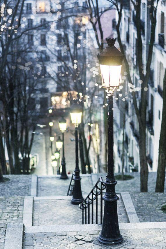 Paris Photograph - Paris at Night, Street Lamps, Montmartre, French Home Decor, Large Wall Art ~ GeorgiannaLane on Etsy
