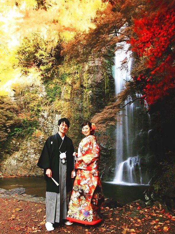 紅葉の箕面の滝で 和装ロケーションフォト撮影 スポサブランカ