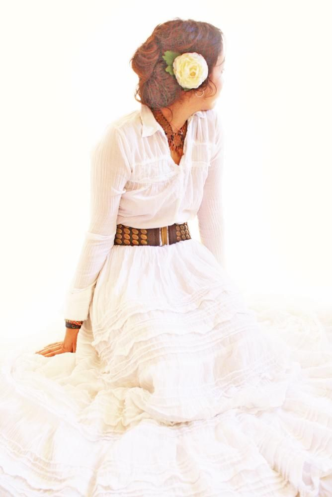 I find this look darling. It's different, not like most wedding dresses. Cute for a winter barn wedding!