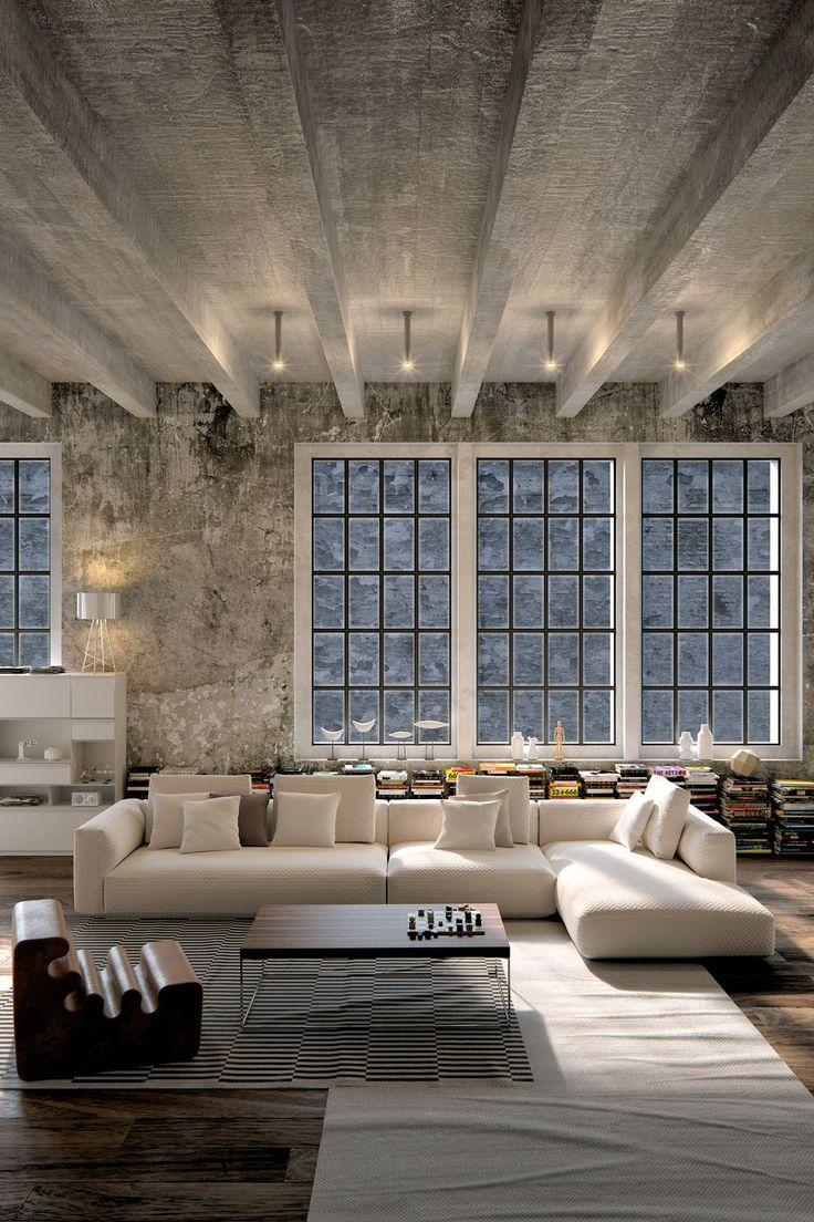 Бетонные стены и потолок в лофт интерьере гостиной