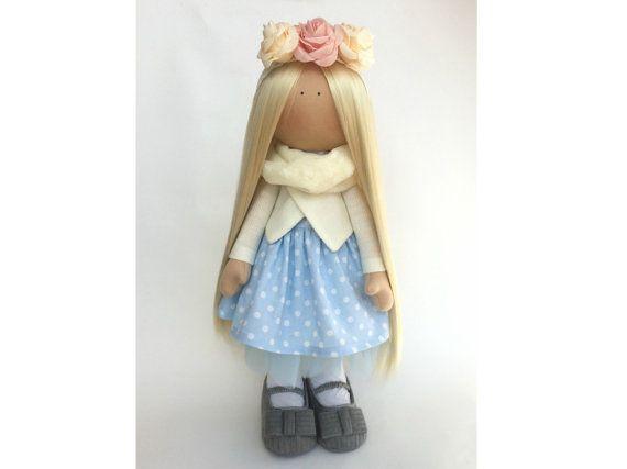 Interior tilda doll Art doll Sunny doll handmade blonde blue colors soft doll Cloth doll Fabric doll love toy by Master Marina ToyShop
