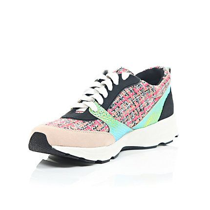 Pink panelled lace up trainers £65.00 #riverisland