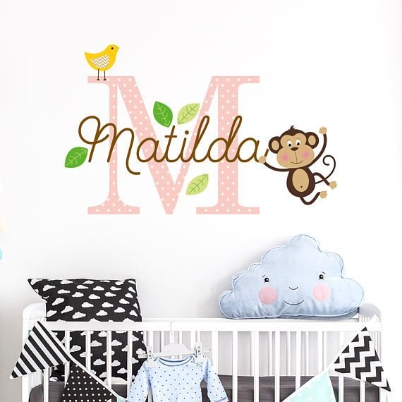 This personalised custom name decal will look super cute over the babys nursery bed. It comes in 2 colour and size options. All the elements come separate so you can peel and stick as you wish. Surprise your friends with an original baby shower gift to decorate the baby nursery wall. Please choose the correct size and colour options from the drop down menus.  • YOUR NAME CHOICE • Dont forget to send us the name for us to create the personalised name sticker and initial. During checkout you…