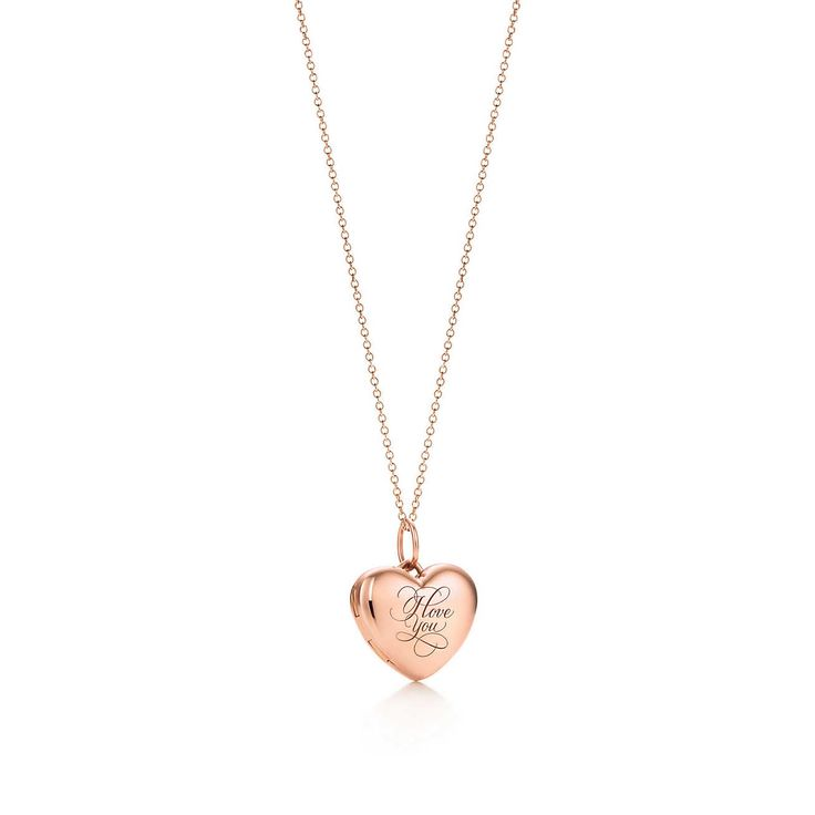 """I Love You"" heart locket in 18k rose gold on a chain."
