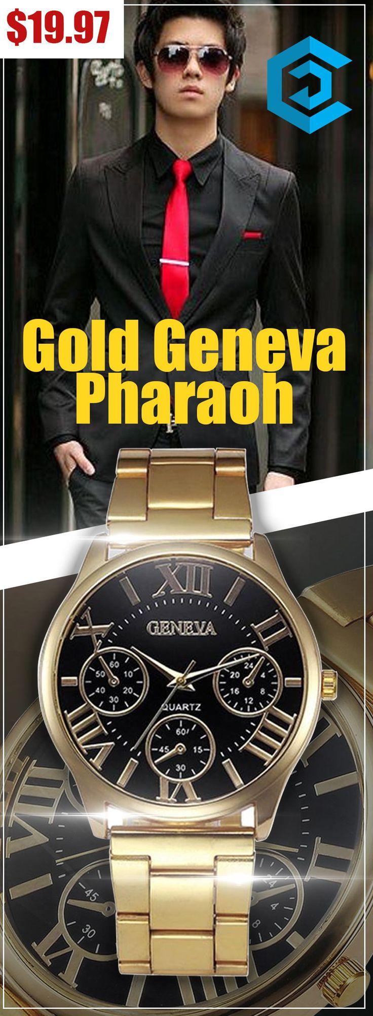 Gold Geneva Pharaoh |affordable| |luxury| |mens| |simple| |watches for men| |unique| |design| #watches #luxury #fashion #unique