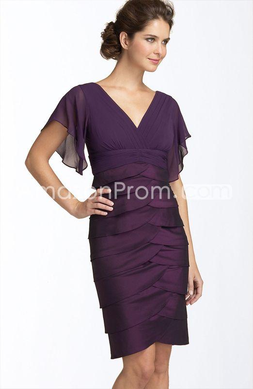 Elegant Short Sleeves V-neck Tiered Short-Length  Mother Of The Bride Dress