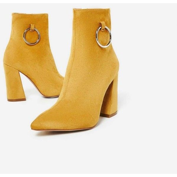 5f680e163 Ruben Pull Ring Detail Ankle Boot In Mustard Faux Suede (763.005 IDR) ❤  liked