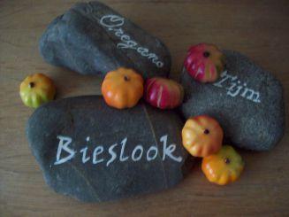 Kruidenlabels van stenen