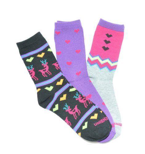 Deer Heart Crew Socks 3-Pack by @PacificLegwear for @UnionBay