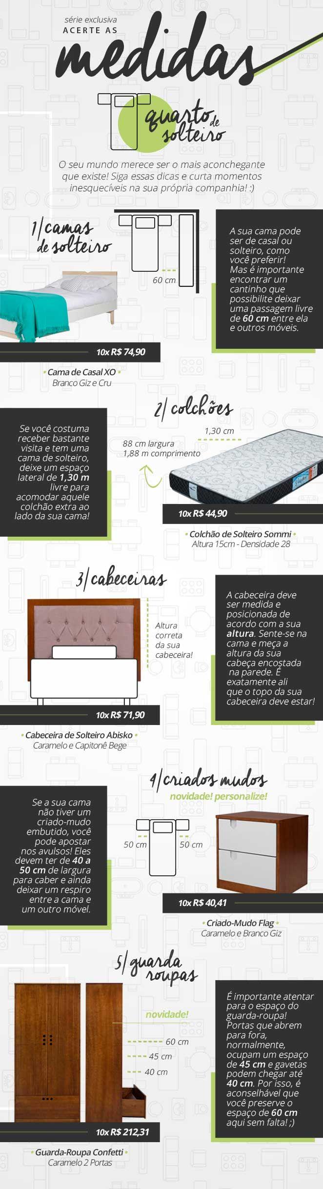 Aprenda as medidas corretas para montar um quarto de solteiro muito confortável e bonito!