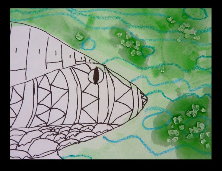 Investigation of Torres Strait Island Art and Geography. Patterning and experimenting with materials. Observational Drawing using a photo drawn in black pen. Patterned crayon background with ink wash and salt. Year 3