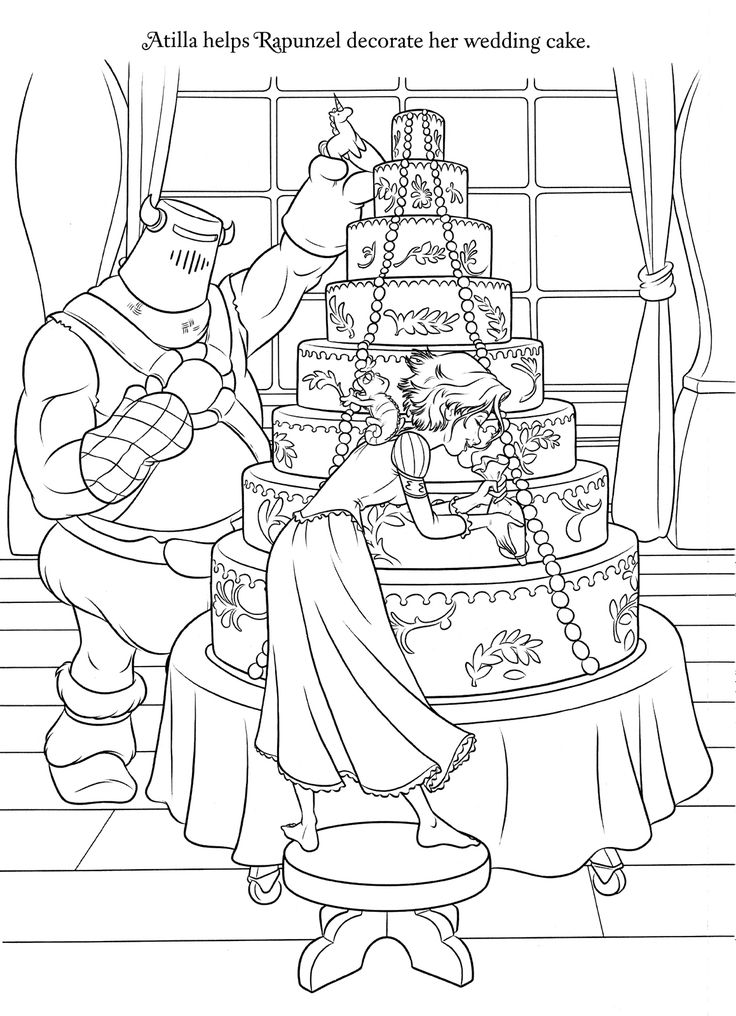 Rapunzel Helps Decorate Her Wedding Cake