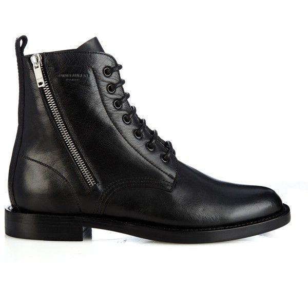 Saint Laurent Lace-up leather biker ankle boots (€1.230) ❤ liked on Polyvore featuring shoes, boots, ankle booties, black, short black boots, black bootie, lace up booties, black military boots i combat boots