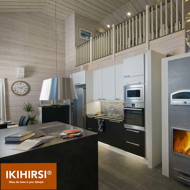 Кухня-гостиная-столовая. Модель H2-154 #деревянныйдом из клееного бруса #Ikihirsi