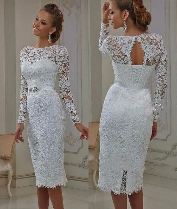 Vintage Lace Tea Length Short Wedding Dresses 2017 With Long Sleeves  Sheath  Jewel Neck Casual Reception Bridal Gowns New Real