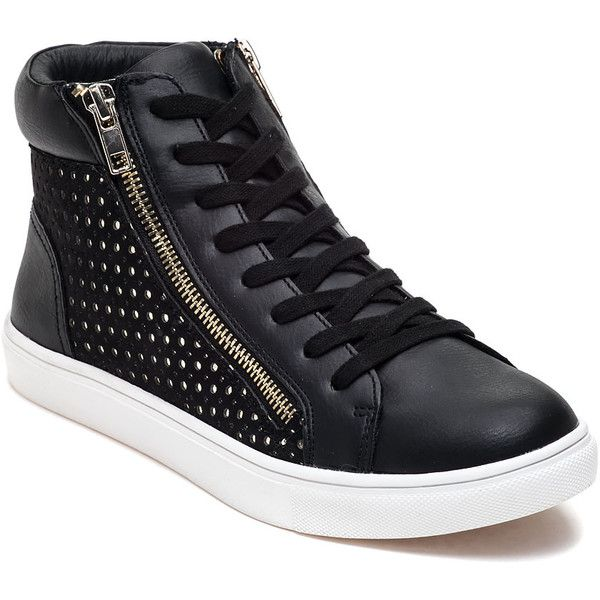STEVE MADDEN Elyka Black High Top Sneaker ($89) ❤ liked on Polyvore featuring shoes, sneakers, black leather, high top sneakers, black high tops, black high top sneakers, steve-madden shoes and lace up sneakers
