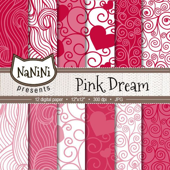 Hearts digital paper PINK DREAM romantic by NaniniDigitalStore