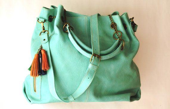 Oversize handbag Large aqua crossbody bag Everyday by Percibal, $210.00