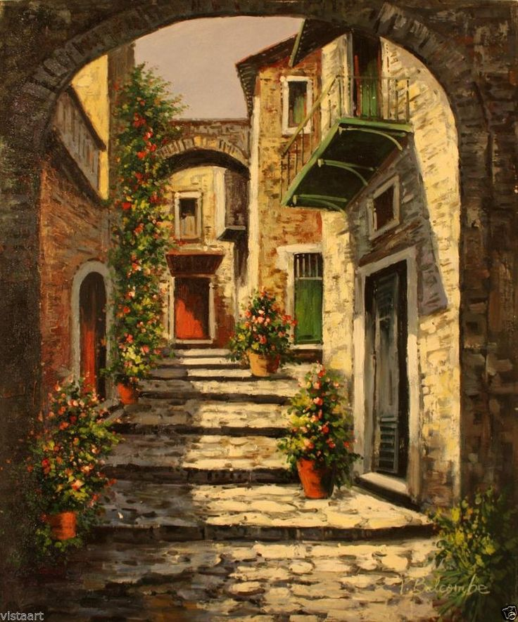 "Oil Painting On Stretched Canvas 20""x 24""- Cobblestone Alley #Realism"
