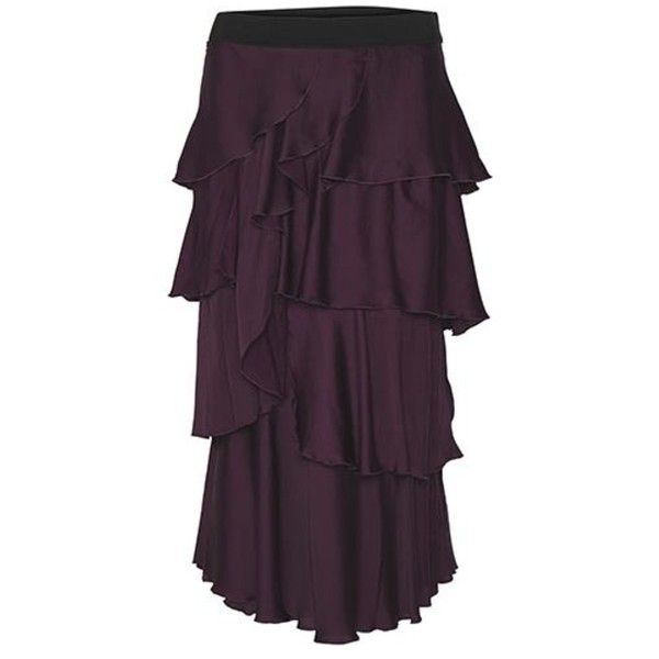 Plum Janeta Frill Skirt (1,815 EGP) ❤ liked on Polyvore featuring skirts, purple ruffle skirt, elastic waist skirt, ruffle midi skirt, ruffle skirt and party skirts