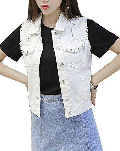 ac3a0041b708 Femme Casual Gilet Courte Déchiré En Jean Slim Fit Denim Veste Sans Manches  Outwear Tops Blanc