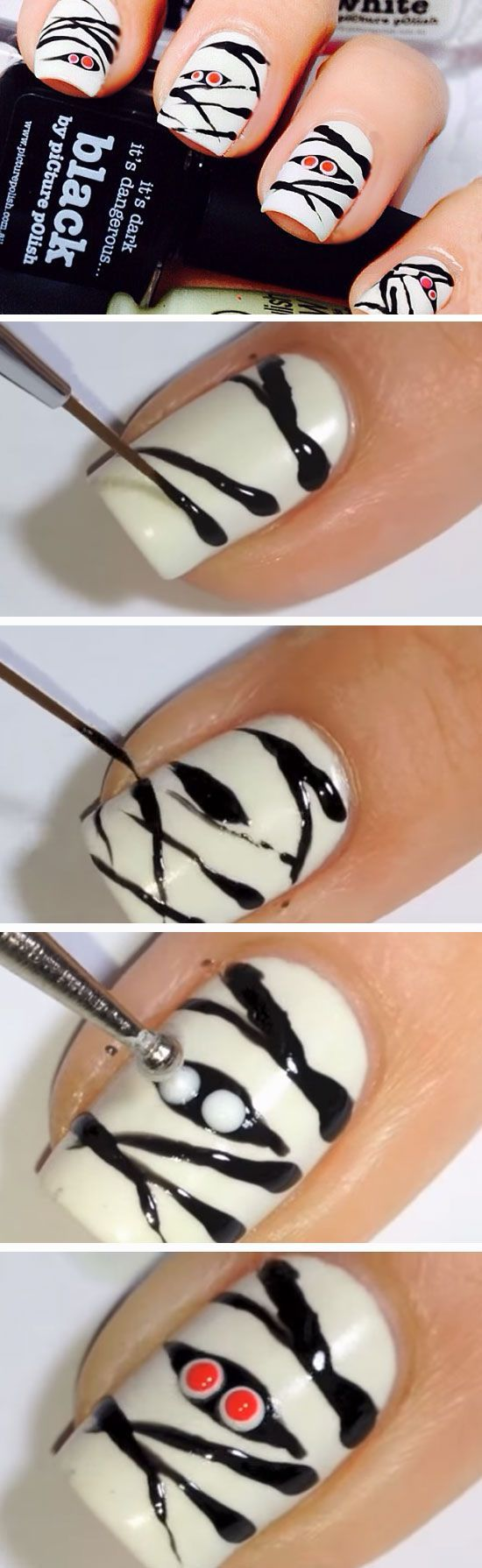 Mummies | 23 Easy Halloween Nail Art Ideas for Teens that are totally spooktastic!
